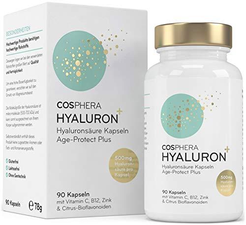 Acide hyaluronique – Dosage élevé 500 mg - 90 capsules végétaliennes pour 3 mois de cure – 500-700 kDa – Enrichies en vitamines C, B12 et zinc – pour la peau, les articulations, anti-âge – Cosphera