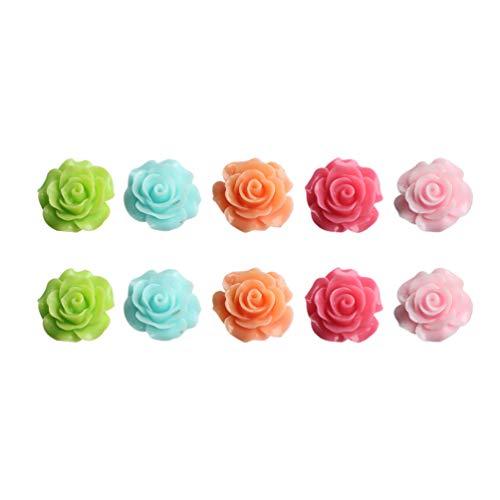 Amosfun - Magneti per frigorifero, a forma di fiore, 5 cm, 10 pezzi, per San Valentino (colori casuali), Resina, Immagine 1, 2 cm