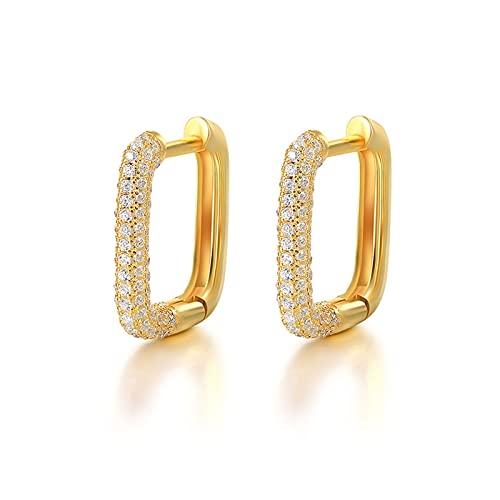 YiGanQiang 1 par de Damas Pendientes 925 Sterling Silver Colorido Diamond Gold Hoops for Las Mujeres Zirconia Jeweled Geométrica Rectángulo Pendiente (Color : C)