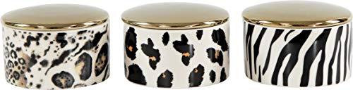 Hoff Interieur 3er Set Schmuckdose Schatulle Pillendose Safari aus Porzellan, Schmuckaufbewahrung in Edler Schatulle, Ø 7 cm, H: 4,5 cm