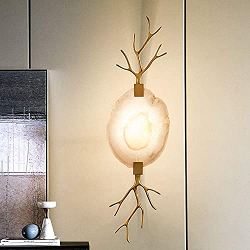 Renovation House High Taste Post marrón Lámpara de pared moderna Lámpara de cabecera Sala de estar Dormitorio Estudio Lámpara de pared de cobre Ágata Retro Nórdico Personalidad creativa Lámpara de