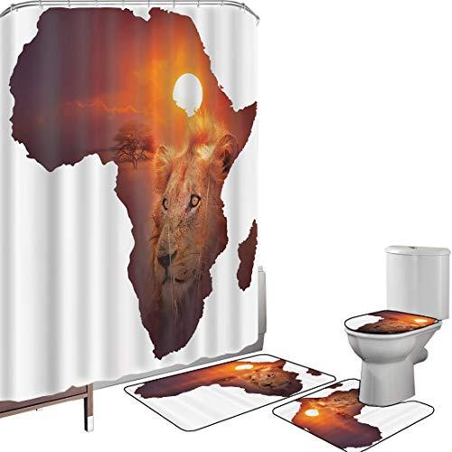 Juego de cortinas baño Accesorios baño alfombras Safari Arte africano Vida silvestre Continente León Puesta de sol Impresión digital Fotografía de alta resolución Fotografía Marrón y blanco s Alfombri