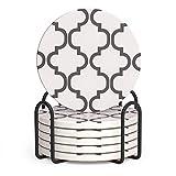 LIFVER Posavasos para bebidas, juego de 6 posavasos absorbentes con soporte, regalos de inauguración de la casa para decoración del hogar, 4 pulgadas para tipos de tazas, estilo de línea gris