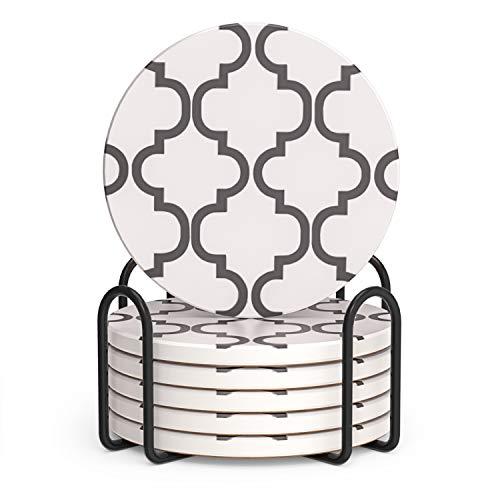 LIFVER Sottobicchieri per bevande assorbenti, sottobicchieri con supporto, sottobicchieri in ceramica, regalo per l'inaugurazione della casa, 10,5 cm per tipi di tazze, stile moderno, grigio
