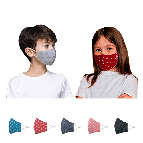 Kawach Cotton Reuseable Cloth Mask (Assorted, Without Valve, Pack of 5) for Kids