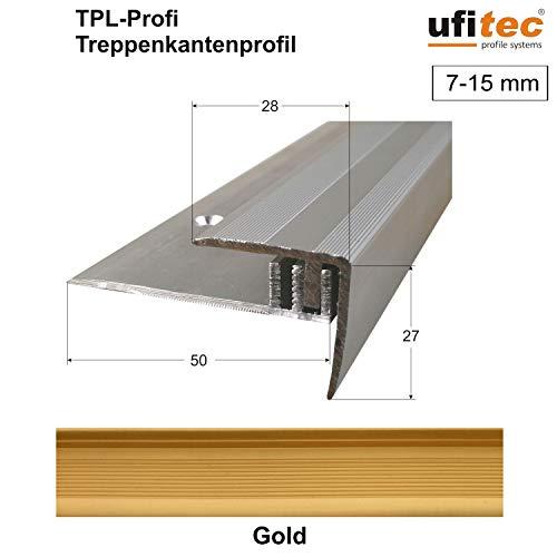 ufitec Profilsystem für Parkett- und Laminatböden - für Belagshöhen von 7-15 mm - viele Farben lieferbar (Treppenkantenprofil 270 cm lang, Gold)