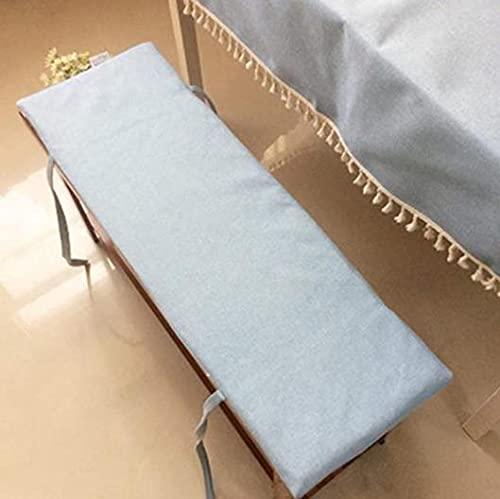 Lovemorebuy Cojín de banco para interiores y exteriores, con cremallera, antideslizante, lavable, para jardín, patio, muebles de jardín, 100 x 30 x 2 cm, color azul claro