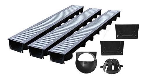 3x1m ACO Entwässerungsrinne Komplettset Garagenset Ablaufrinne Bodenrinne befahrbar Bodenrinne Terrassenrinne