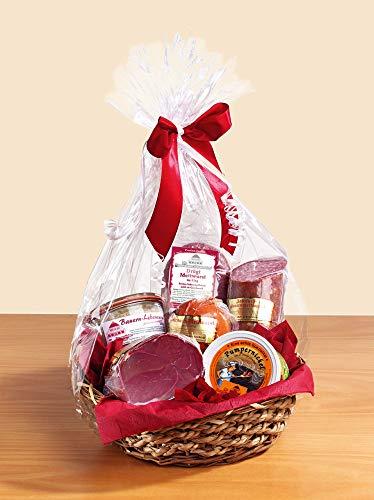 Präsentkorb Brotzeitkorb Nr. 1 mit Wurst & Schinken | Deftiger Geschenkkorb mit norddeutschen Spezialitäten | Feinkost Wurstkorb | Geschenke für Männer & Frauen | Fresskorb gefüllt & geschenkfertig