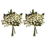 Keebgyy 9 piezas de ramo de bayas artificiales blancas de acebo realista para bodas, adornos de bayas falsas para decoración del hogar, oficina, rama de bayas de acebo sintético (blanco, 9)