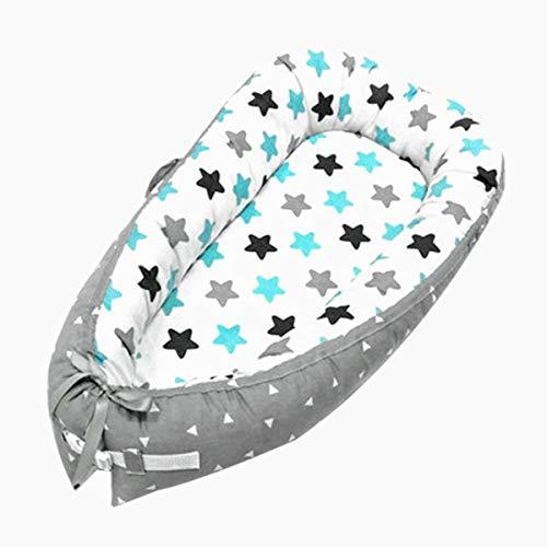Cama nido bebé recién nacido estrellas, baby nest, portátil, multifuncional, 100% algodón antialérgico, reductor bebé, protector de cuna con bolsa de almacenamiento