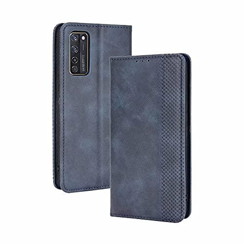 LINER Hülle für ZTE Axon 20 5G/4G, Premium Retro Lederhülle PU Flip Handyhülle Brieftasche Klapphülle Stoßfest Schutzhülle mit Kartenfach/Standfunktion/Magnetverschluss - Blau