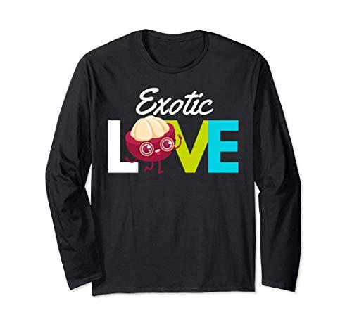 マンゴスチンの愛-エキゾチックなフルーツを食べる 長袖Tシャツ