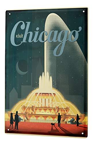 LEotiE SINCE 2004 Blechschild Wandschild 30x40 cm Vintage Retro Metallschild Stadt Chicago Brunnen Wasserspiele Fontäne