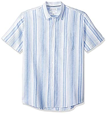 Amazon Essentials Men's Regular-Fit Short-Sleeve Linen Cotton Shirt, Blue Stripe, X-Large