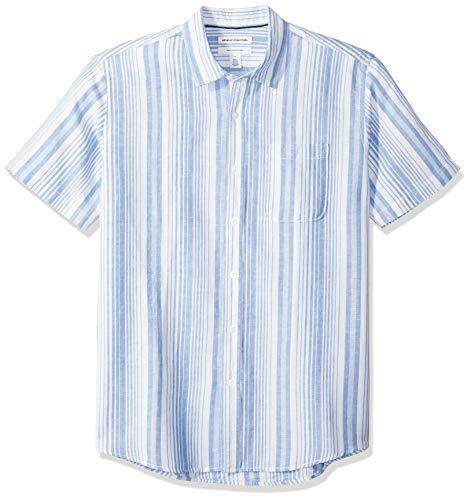 Amazon Essentials Men's Regular-Fit Short-Sleeve Linen Cotton Shirt, Blue Stripe, Large