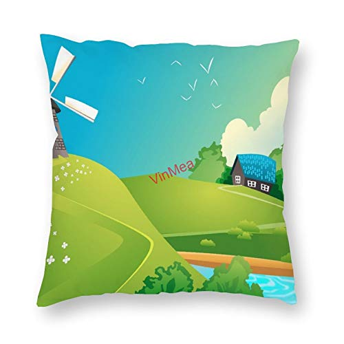 VinMea Decorative Pillow Covers House Lake Landscape Cushion Covers for Sofa Bedroom Home Office Decor 16x16 Inch