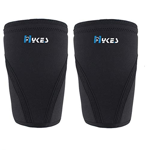 Hykes 7mm Knee Support Neoprene Sleeves for Weight Lifting, Gym, Cross Training,Fitness, Squats, Powerlifting, Workout - Pair (Black, Medium)