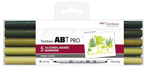 Tombow ABTP-5P-6, marcatore a base di alcol ABT PRO con due punte, Green Colors