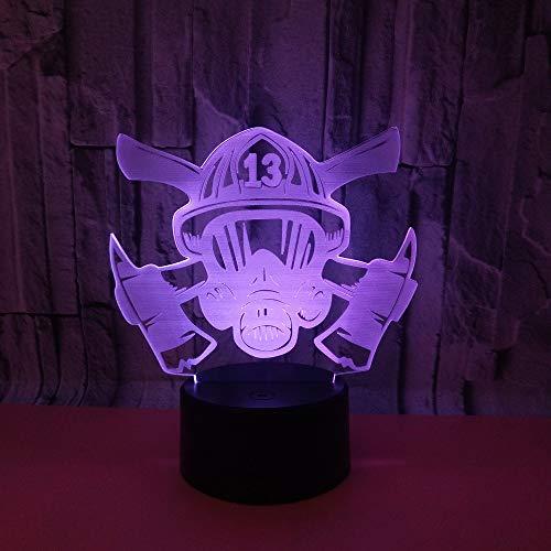 BFMBCHDJ Explosion Style Neue Feuermaske 3D Buntes Touch-Licht Touch-Fernbedienung 3D Visuelles Licht Dekoratives Nachtlicht A4 Weiße Rissbasis + Fernbedienung