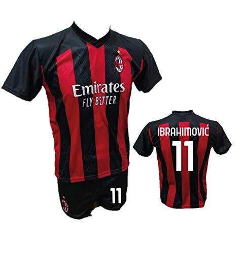 DND Di Andolfo Ciro Fußballtrikot Zlatan Ibrahimovic Milan und Shorts mit Nummer 11 bedruckt Replik authorisiert 2020-2021 Größen für Kinder und Erwachsene (6 Jahre)
