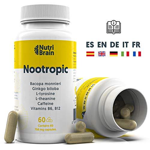 Nootrópico Natural Envase XL 60 Cápsulas | Fórmula para incrementar la energía, concentración y agilidad mental | Cafeína, Ginko Biloba,...