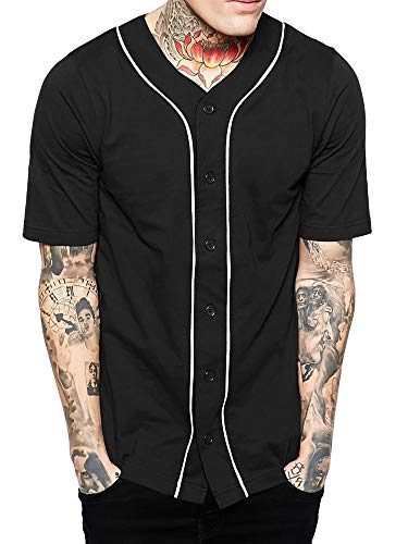 Hat and Beyond Mens Baseball Button Down Jersey (X-Large, 01up01_Black/White)