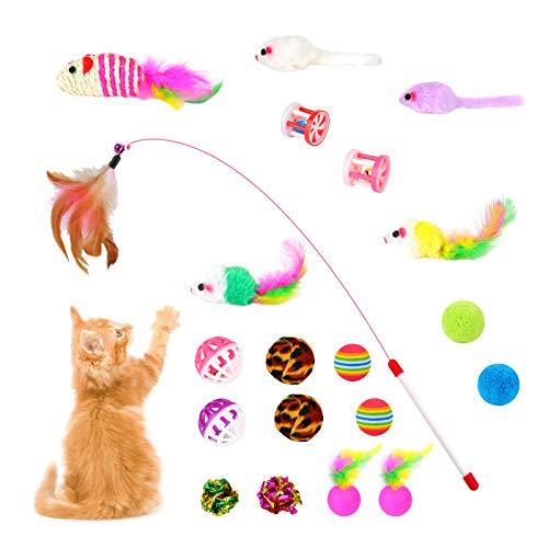 EKKONG Giocattoli per Gatti, Giocattoli Interattivi per Gatti, Set di Giocattoli per Gatti Bacchetta, Giochi con Piume per Gatto per Gattino Kitten Indoor (20 Pezzi)