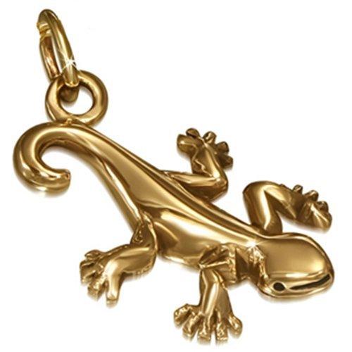 Ciondolo a forma di bronzo BlackAmazement Gecko Lucertola Lizard pelle catena Band collana da donna, bronzo, colore: bronzo