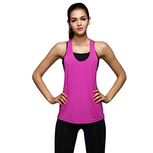 HARRYSTORE Sport Tank Tops Mujer Camisetas Deportivas Sueltos y elásticos Mujer Camisetas sin Mangas Deportivos Mujer Chaleco Fitness para Correr (S, Rosa Caliente)