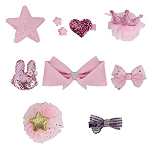 QUMY Dog Hair Clips Mixed Styles Varies Patterns Bows Pet Hair Accessories Grooming Product Hair Clips for Little Girls, 10 Piece (Pink)