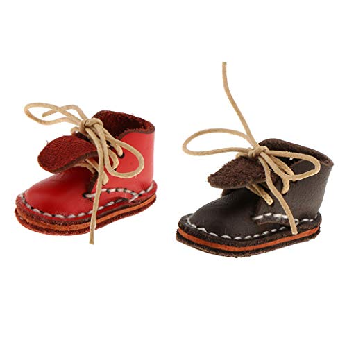 Prettyia 2 Pairs 12inch Dolls Shoes Fashion Mid Calf Buckle Boots Ankle Boots for Blythe Azone Doll Clothing Accessories