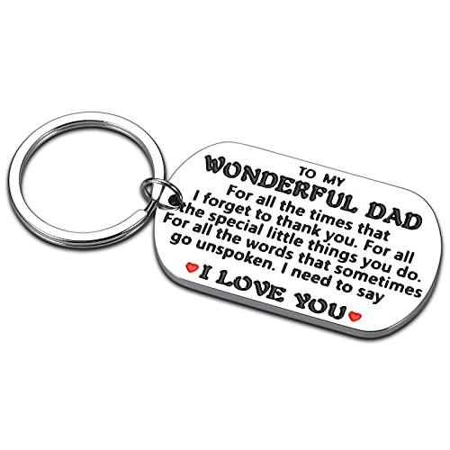 Dad Daddy Birthday Christmas Valentine's Day Fathers' Day Gifts from Daughter Son Daughters Sons Kids Child i Love You Dad Keychain Gifts for Men Male Step Dad Papa Father New Dad to Be Him