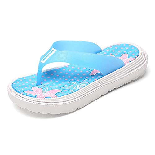 Flip Flops Womens Girls Soft Padded Massage Thong Sandals Lightweight Beach Travel Comfort Walking Non-Slip Slippers Strappy Sandal Friendly Shower Shoes Sakura Lily Blue 40