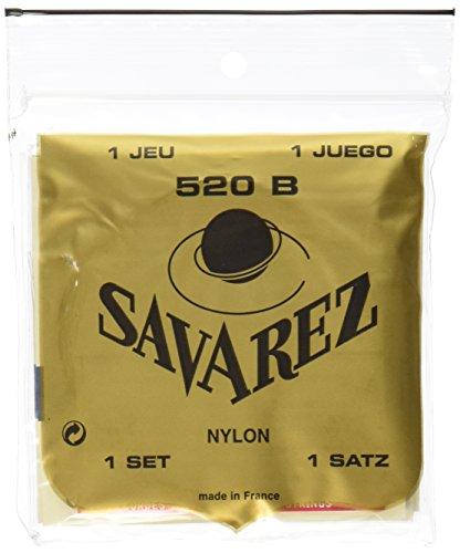 Savarez 655807 - Cuerdas para Guitarra Clásica, Juego Tradicional Concert 520B Tensión Bajo, Nylon Entorchado en Plata