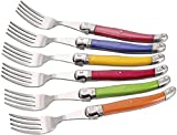 Laguiole I7210P6-NT Boîte de 6 Fourchettes de Table 6 Couleurs Pastel