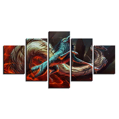 Abstract schilderij HD-druk decor moderne woonkamer muurkunst 5 stuks dier draak wolf poster modulair canvas afbeelding (geen lijst) 40x60 40x80 40x100cm