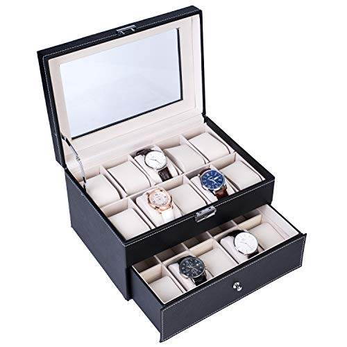 QCSJ 20 Compartments Watch Collection Box Dual Layers Lockable Watch Organizer Jewelry Display Case for Watches Hairpin Cuff Links Brooches, Black