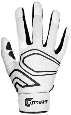 Cutters Gloves Youth Lead-Off Baseball Batting Glove, White/Black, Small