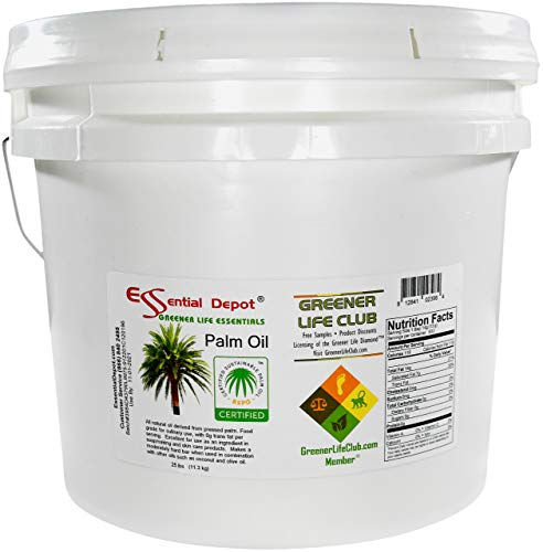 Palm Oil - RSPO Certified - Sustainable - Food Grade - Kosher - Not Hydrogenated - 25 lbs in a 3.25 Gallon Pail - HDPE microwavable container with resealable lid and removable handle