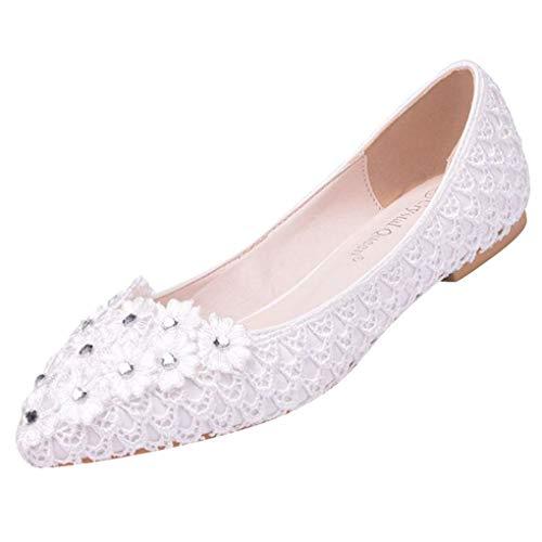 Übergroße Hochzeitsschuhe für Frauen, Damen Weiß Blumen Lace Ballerina Flache Geschlossene Zehe Braut Hochzeit Schuhe,Dorical Pointed Toe Zehen Elegant Flache Brautschuhe 34-43 EU(Weiß,40 EU)