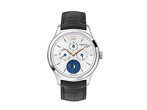 Montblanc Heritage Chronometrie Quantieme automático plata Dial negro cuero reloj para hombre 112536