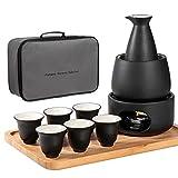 LOUTYTUO 11-Piece Ceramic Sake Set Including 1 Sake Pot, 6 Sake Cups, 1 Warming Mug, 1 Candle Stove, 1 Candle Tea Light Holder and 1 Tray
