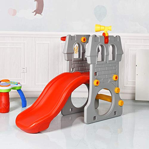 Maxmass Kids Foldable Slide, Toddlers Large Junior Slide with Basketball Hoop Set , Outdoor Indoor Climb Toy for 3-8 Years Old