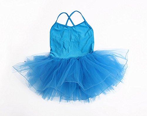 Happy Cherry - Vestido Ballet Maillot de Gimnasia Tarje de Danza para Niñas 10-11 Años - 130-140cm Azul