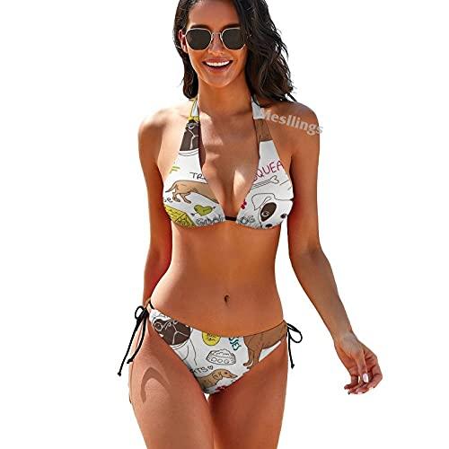 Diferentes tipos perros dibujos animados moda mujeres cordón dos piezas triángulo bikini conjunto traje de baño trajes de baño