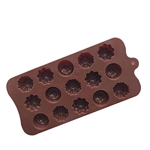 WWWL Molde de Chocolate 1pc Coffee Coffee Chocolate Molde Cavidad Flor de Silicona Rosa Cake Chocolate Cake Molde Bandejas Hielo Molde para Hornear Pastel Decoración (Color : 1pcs)