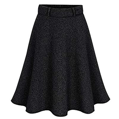 Flygo Women's Casual Elastic Waist Wool A-Line Flare Knee Length Skirt