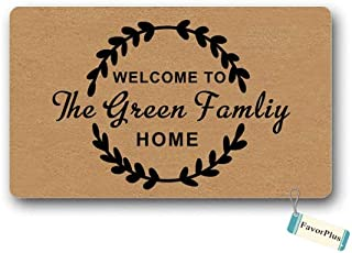 Doormat Welcome to The Home Family Name Text Personalized Custom Entrance Outdoor/Indoor Non Slip Decor Funny Floor Door Mat Area Rug for Entrance 18x30 inch