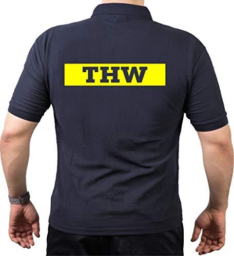 FEUER1 Poloshirt Navy, THW (Negativschrift) mit Zahnrad Neongelb S